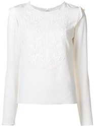 Monique Lhuillier Embroidered Bib Blouse White