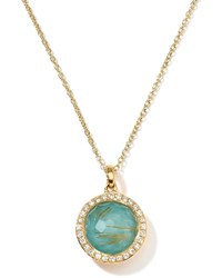 18K Gold Rock Candy Mini Lollipop Pendant Necklace Quartz Turquoise Diamonds Ippolita Turquoise Quartz