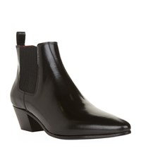 Maje Leather Ankle Boots Female Black