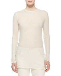 The Row Long Sleeve Cashmere Tissue Top Natural