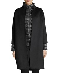 Fleurette Cashmere Nehru Collar Wool Coat W Detachable Lightweight Puffer Jacket Black Charcoal