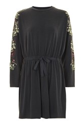 Topshop Petite Embroidered Batwing Dress Navy Blue