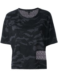 Marc Jacobs Cropped Camouflage T Shirt Women Silk Cotton S Black
