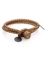 Bottega Veneta Intrecciato Metallic Leather Double Row Wrap Bracelet Helios