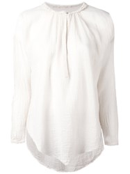 Raquel Allegra Raw Edge Peasant Top White