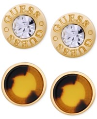 Guess Gold Tone 2 Pc. Set Crystal And Faux Tortoiseshell Stud Earrings