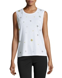 Dex Beaded Crewneck Tank White