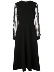 Christian Siriano Flared Midi Dress With Tassels Black