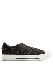 Valentino Low Top Embellished Canvas Trainers Black
