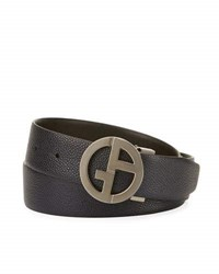 Giorgio Armani Logo Buckle Vitello Belt Navy