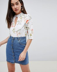Girls On Film Floral Blouse With Choker Detail Floral Print Multi