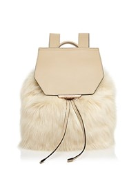 Kendall And Kylie Nancy Faux Fur Backpack Cream Tan Rose Gold