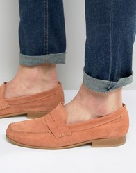 Asos Penny Loafers In Coral Suede With Natural Sole Coral Pink