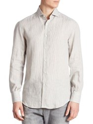 Brunello Cucinelli Striped Long Sleeve Shirt Olive