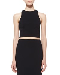 Alexander Wang Ribbed Ponte Cross Back Crop Top Black