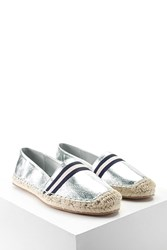 Forever 21 Metallic Espadrille Loafers Silver