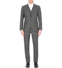Reiss Regular Fit 3 Piece Wool And Cotton Blend Suit Black White