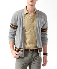 Forever 21 Two Tone Cardigan Sweater Heather Grey Olive