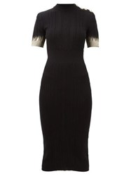 Balmain Metallic Sleeve Knitted Midi Dress Black