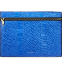 Kurt Geiger London Snake Embossed Leather Pouch Blue