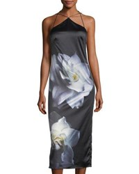 Phoebe Couture Floral Print Silky Slip Dress Multi Pattern