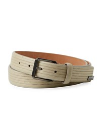 Armani Collezioni Perforated Leather Belt Gray