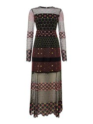 Little White Lies Long Sleeves Crew Neck Maxi Dress With Print Multi Coloured Multi Coloured