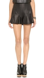 Shakuhachi Leather Frill Shorts Black