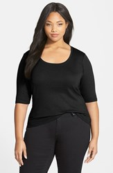 Plus Size Women's Sejour Elbow Sleeve Scoop Neck Tee Black
