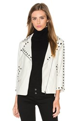 Line And Dot Stud Moto Jacket White