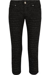 Mcq By Alexander Mcqueen Cropped Low Rise Croc Print Skinny Jeans Black