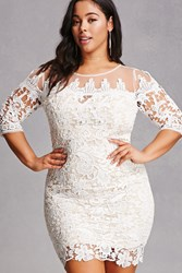 Forever 21 Soieblu Crochet Bodycon Ivory Nude