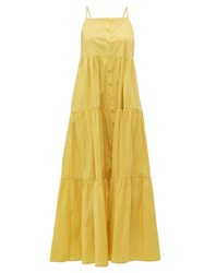 Sea Luna Tiered Cotton Blend Maxi Dress Yellow