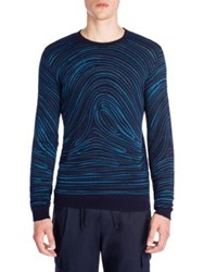 Emporio Armani Long Sleeve Wool Blend Sweater Solid Blue