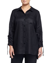 Go Silk Long Sleeve Button Front Blouse Black