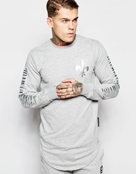Criminal Damage Longline Long Sleeve T Shirt In Oversized Fit With Curved Hem Grey