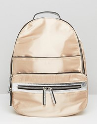 Miss Selfridge Metallic Backpack Metallic Silver
