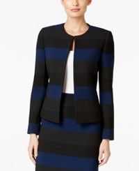 Tahari By Arthur S. Levine Asl Striped Open Front Jacket Royal Grey
