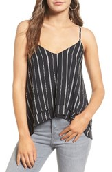 Women's Bp. Layered High Low Hem Tank Black Twin Stripe Print