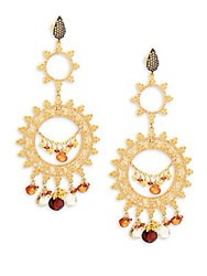 Azaara Goldtone And Garnet Chandelier Earrings