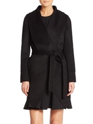 Saks Fifth Avenue Wool And Cashmere Draped Coat Black Charcoal