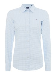 Gant Gingham Stretch Oxford Shirt Light Blue