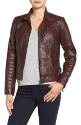 Bernardo Women's Quilted Leather Moto Jacket Ruby Wine