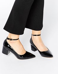 Truffle Collection Molly Ankle Strap Mid Heeled Shoes Blackpat