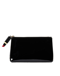 Lulu Guinness Patent T Seam Make Up Bag With Lipstick Zip Black
