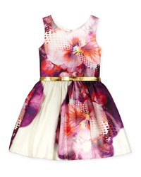 Zoe Sleeveless Floral Party Dress Purple White