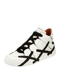 Ermenegildo Zegna Tiziano Men's High Top Leather Sneaker White