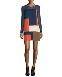 Diane Von Furstenberg Raegan Long Sleeve Silk Colorblock Mini Dress Orange Midnight Khaki