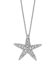 Lord And Taylor Diamond And 14K White Gold Starfish Pendant Necklace