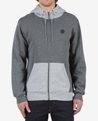 Volcom Men's Single Stone Colorblocked Full Zip Hoodie With Fleece Lining Darkgrey